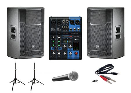 2 JBL PRX 715 Speakers 6 Channel Mixer 10 Ch Available Upon Request 1 Wired Microphone Laptop IPod Cord